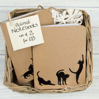 Set of 2 Animal Notebooks - Small, Blank Notebooks with matching Page Clips