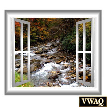 Rocky Mountain Stream 3D Window Frame Wall Mural Water Scene Sticker Wall Art VWAQ-GJ401