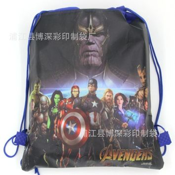 12pcs Cartoon Drawstring bag for Boy Avengers,Batman Backpack Kids Them Party Favors,Gifts