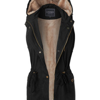 LE3NO Womens Faux Fur Anorak Military Hoodie Vest with Pockets