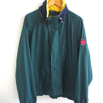 BIG SALE 25% TOMMY Hilfiger Big Logo Patches Vintage 90's Hip Hop Rap Snowbeach Color Green Hoodie Windbreaker Jacket Coat Size L