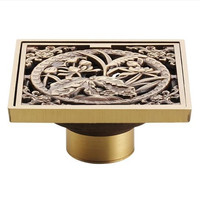 Antique Copper Anti-Odor Square Lotus Bathroom Accessories Sink Floor Shower Drain Cover Luxury Sewer Filter Shippinggz8403