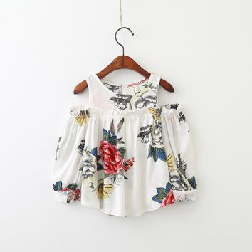 Open Shoulder Rose Print Long Sleeve Top
