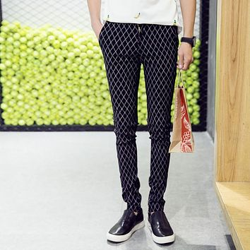 High Quality Casual Skinny Men's Pants Plaid Stripe Slim Fashion Business Joggers Skinny Trousers For Male