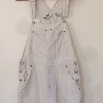 Cream linen short overalls size medium