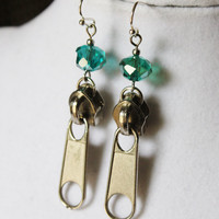 Teal and Silver Zipper Earrings - Dark Silver Zipper Pulls with Teal Crystal Rondelles on Silver Earring Hooks