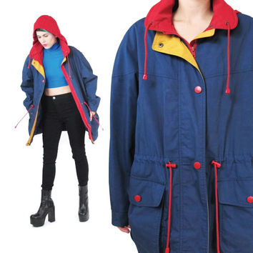 90s Hooded Rain Jacket Navy Parka Rain Jacket Color Block Outerwear Blue Rain Coat Drawstring Waist Anorak Womens Zip Up Jacket (M/L)