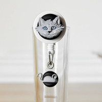 Kitty Cat and Mouse ID Badge Reel Holder Retractable with Pocket Lapel Clip Great Gift for Teachers, Veterinarian, Nurses or Animal Rescuers
