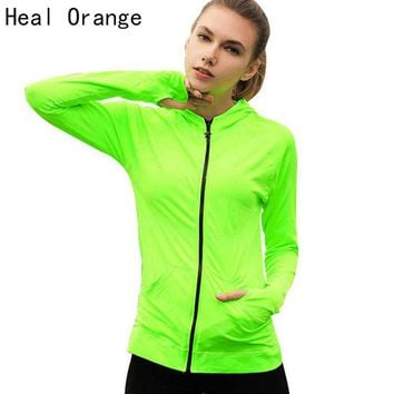 Women's Healing Orange Light Running Jacket  Zip-up