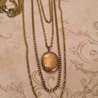 Timeless Vintage Gold Goldette Multi-chain necklace with Locket
