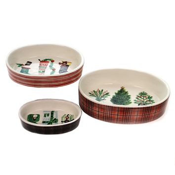 Christmas TRINKET DISHES SET/3 Stoneware Stocking Trees Packages Xm0937
