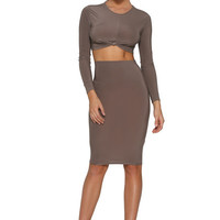 Khloe Knot Skirt Set - Taupe