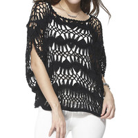 Simply Couture Black Hairpin Crochet Top | zulily