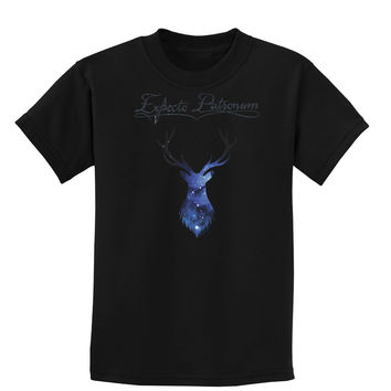 Expecto Patronum Space Stag Childrens Dark T-Shirt