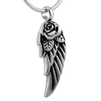 "Cremation ""Winged Rose"" Urn Necklace"