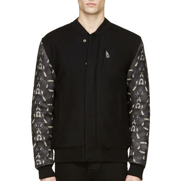 Marcelo Burlon County Of Milan Black Snake Print Bomber Jacket