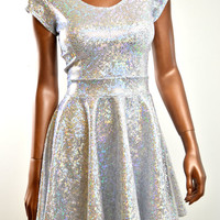 Holographic Silver Skater Dress with Cap Sleeves and Scoop Neckline