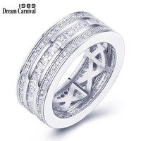DreamCarnival 1989 Stackable Ring for Women Classic Wedding Band Rhodium Gold Color 3 Rolls CZ Anniversary Jewelry Anillos 65924