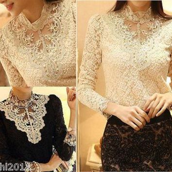 2016 HOT Women's Sexy Casual OL beading Long Sleeve Lace crochet Tops femme Shirt Blouse sheer turtleneck hollow out top blouse