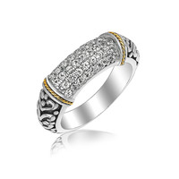 18K Yellow Gold and Sterling Silver Ring Accentuated with White Sapphires: Size 6