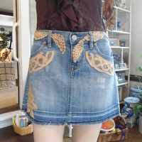 Size 8 Ultra Low Waist Upcycled Denim Jean Skirt
