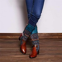 Retro Genuine Leather Knight Cowgirl Boots