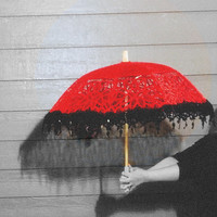 Valentine's Day Red with Black lace edging Battenberg Lace Parasol Pre Order Sale! New item!
