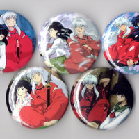 InuYasha - Set of 5 - Inuyasha and Kagome Rumiko Takahashi Anime Shounen Buttons Pins Badges Pinback