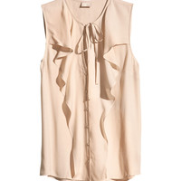 H&M - Sleeveless Blouse with Ruffles - Powder beige - Ladies