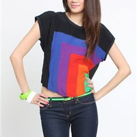 Motel Tina Crop Tee in Geometric Rainbow- Motel Tina Tee- Motel Rocks- $34.99