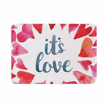 "KESS Original ""It's Love"" Red Pink Memory Foam Bath Mat"