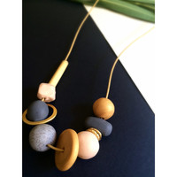 Minimal Polymer Clay Bead Necklace
