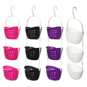 Lowest Price 3 Tier Shower Caddy Bath Rack Plastic Hanging Over Basket Tidy Shower Organiser White Black Rose-red Coffce