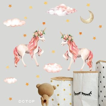 Pink Unicorn Child Fantasy Decals Colorful Cartoon Nursery Paster Waterproof PVC High Quality Wall Sticker Kids Room Decoration