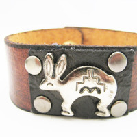 Rabbit Bracelet Leather Cuff Real Leather Snap on Leather Jewelry Rabbit Jewelry Rabbit Leather Bracelet Southwestern Bracelet Mens Gifts