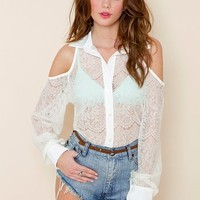 Cutout Lace Blouse in Ivory