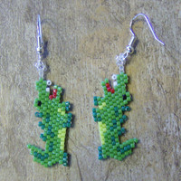 Alligator Earrings Hand Made Seed Beaded