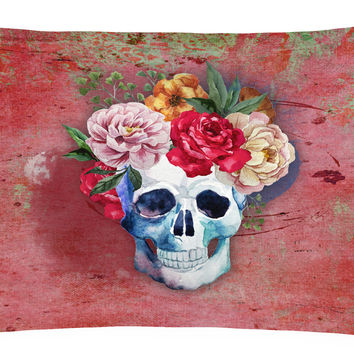 Day of the Dead Red Flowers Skull  Canvas Fabric Decorative Pillow BB5130PW1216