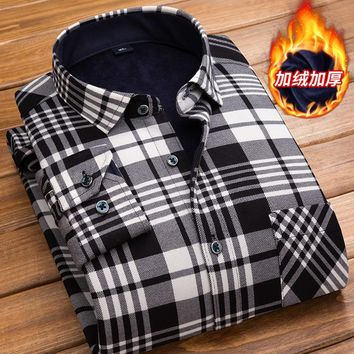 2018 New High Quality Winter Warm Plaid Casual men shirt Long sleeves Shirts Mens Fashion Thick Flannel Shirt camisa masculina