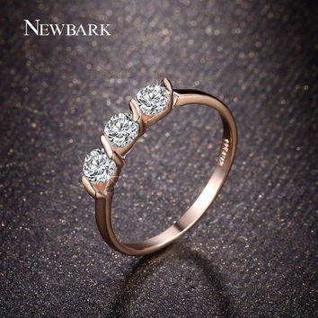 NEWBARK Rose Gold Plated Rings For Women 0.25ct 3 Pieces CZ Diamond Jewelry Tension Setting Gift