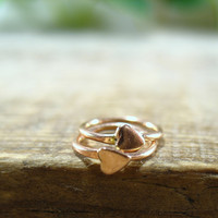 Deco Hoops 14k Pink Gold Filled Tiny Hearts