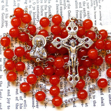 Sacred Heart Rosary - Catholic Rosary, Red Orange Czech Glass Beads, Large