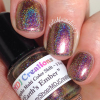 Earth's Ember ~ Holographic Multi Chromatic Color Shift Spectraflair Rainbow Nail Polish by MDJ Creations