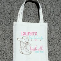 Nashville Personalized Bachelorette Party Favor Bags - Wedding Welcome Tote Bag