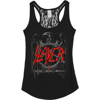 Slayer Women's  Eagle Lace Back Tank Womens Tank Black Rockabilia