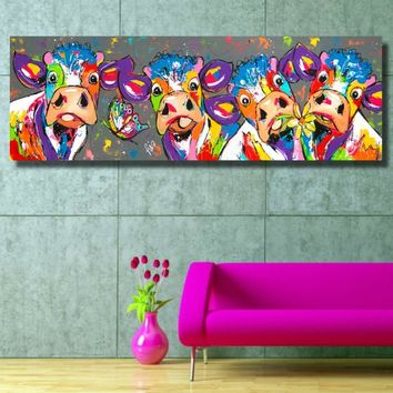 Painting Colorful Cows Animals Graffiti Oil Painting Canvas Prints for Wall Art Picture for Bedroom Living Room Home Decor