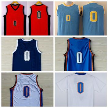 Hot Sale 0 Russell Westbrook Jersey Shirt UCLA Bruins Russell Westbrook College Jersey Blue Orange White With Name