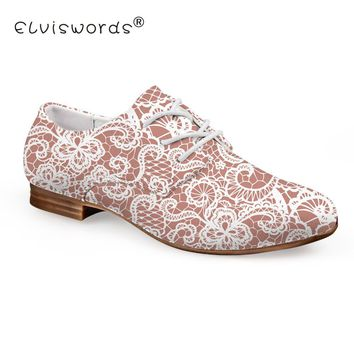 ELVISWORD Lace Printed Flat Shoes Women Lace-up Leather Shoes for Ladies Pink Dress Shoes Females Fashion Oxford Footwear