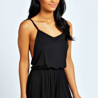 Lissa Strappy Open Back Jersey Playsuit