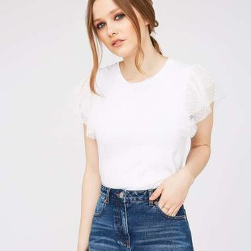 White Spot Mesh Trim T-Shirt